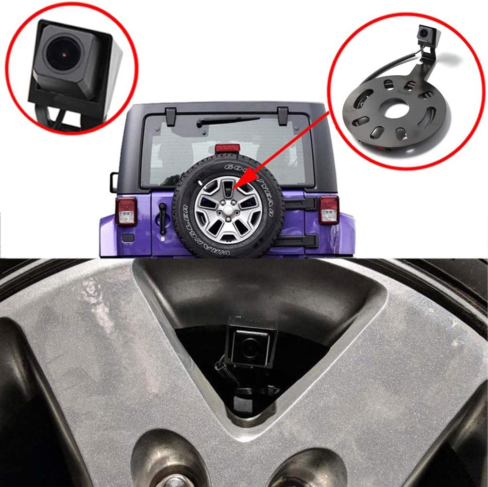EWAY Backup Rear View Spare Tire Mount Camera for Jeep Wrangler 2007-2018 with 4.3