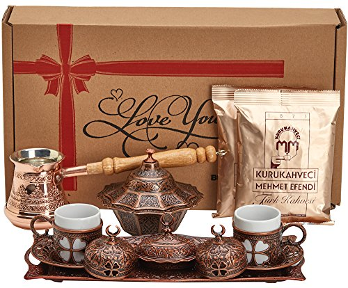 BOSPHORUS 16 Pieces Turkish Greek Arabic Coffee Making Serving Gift Set with...