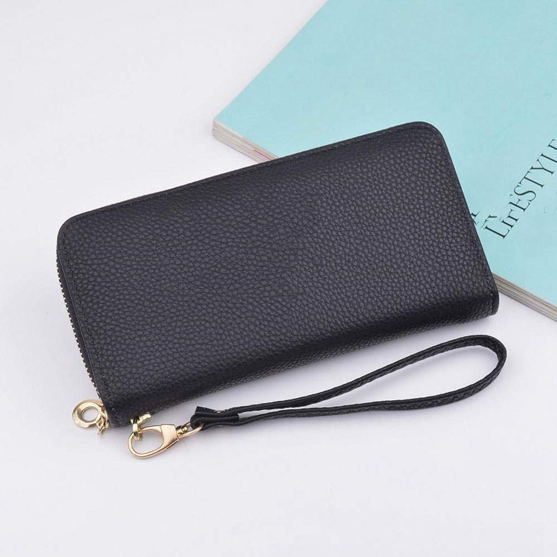 Girls Purse Women's Wallet,Lady Purse Hand Bag Large Zip Big Capacity Wallet PU Leather 19.5  9.5  2.5cm (color   B)