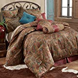 HiEnd Accents San Angelo Western Paisley Comforter Set, Super Queen, Red Bedskirt 4 PC