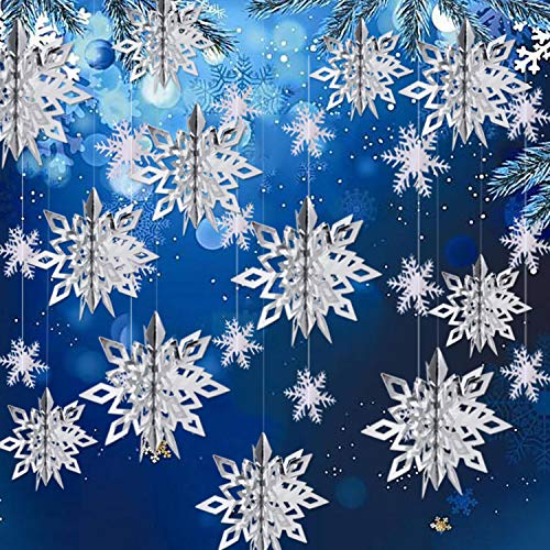 Winter Christmas Hanging Snowflake Decorations, 12PCS 3D Large Silver Snowflakes & 12PCS White Paper Snowflakes Hanging Garland for Christmas Winter Wonderland Holiday New Year Party Home Decoration