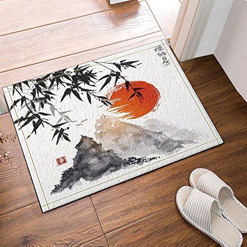 Nyngei Arbres de Bambou Japonais Soleil et Montagnes Tapis de Bain Tapis de Sol antidérapant Tapis de Porte d