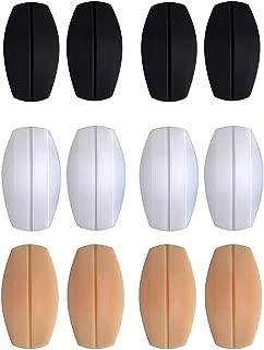Women's Soft Silicone Bra Strap Cushions Holder Non-Slip Comfort Shoulder Protectors Pads(2Black,2Transparent,2Beige)