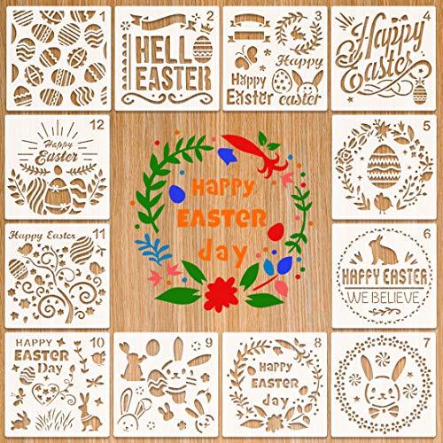 Stencil Pasquali, Formine per Disegnare per Bambini, Kit da Disegno per Stencil in plastica Riutilizzabile di Pasquali, Decorazione Pasquale, ideale come regalo di Pasqua per bambini festa di Pasqua