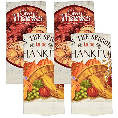 """Thanksgiving Kitchen Dish Towels 4 Pack Autumn Pumpkin Decorative Hand Towel for Harvest Turkey Fall Holiday Party Home Decorations Friendsgiving Bathroom Cloth 25""""x 15"""" by Gift Boutique"""