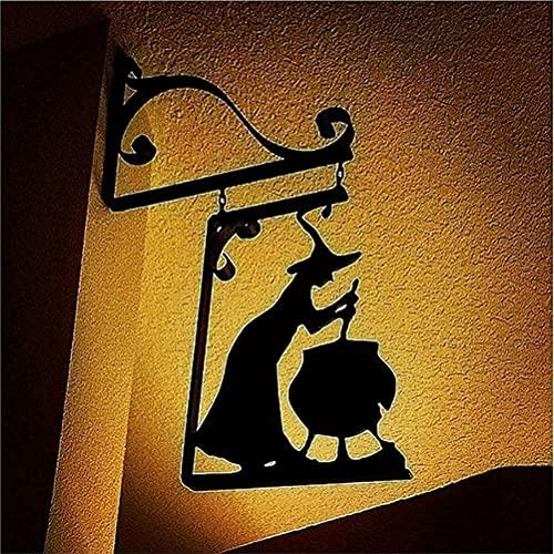 Siluetta del calderone delle streghe di Halloween - Sagoma della strega in metallo, ferro della siluetta del calderone delle streghe Wall Hanging Art Home Decoration, Garden Wall Corner Sign Decor