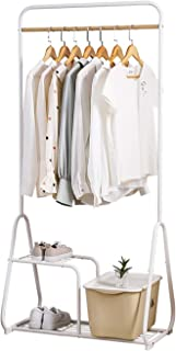 JIE- Au Sol portemanteau de ménage Vêtements Multifonctions Hanger Support de Rangement, Blanc, 76x42x160CM