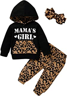 Baby Girl Clothes,Hooded Long Sleeve Printed Leopard Pants Headband Sweatshirt Toddler Outfit...