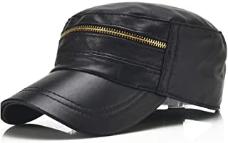 Cap New Korean Men's Leather Light Board Zipper Single Leather Thin Casual Shopping Baseball Cap Spring and Autumn Hat (Color : Black, Size : 56-60CM)