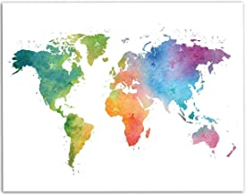 Watercolor World Map - 11x14 Unframed Art Print - Great Living Room Decor and Gift for Travellers, Also Makes a Great Gift Under $15