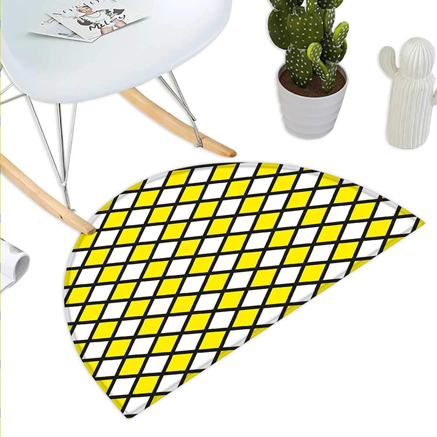 Yellow and White Semicircle Doormat Old Fashioned Checkered Pattern Black Lines Geometrical Squares Halfmoon doormats H 35.4  xD 53.1  Yellow White Black