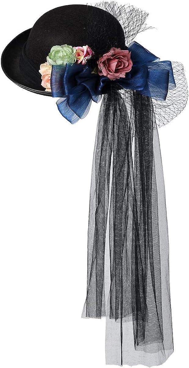 COSDREAMER Women Victorian Hat Flower Veil Fedora Hat Black