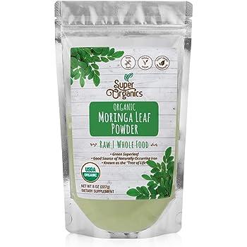 Super Organics Moringa Leaf Powder | Organic Superfood Powder | Raw Superfoods | Whole Food Supplement | Good Source of Iron – Vegan, Non-GMO & Gluten-Free, 8 oz