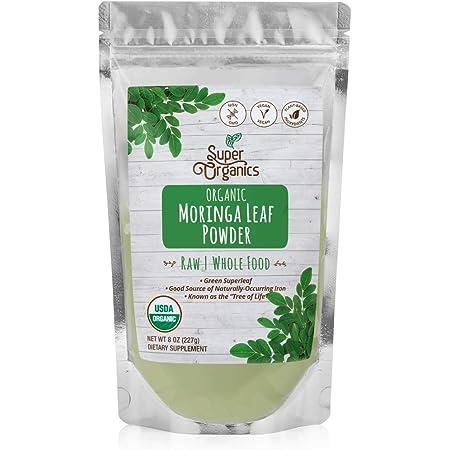 Super Organics Moringa Leaf Powder   Organic Superfood Powder   Raw Superfoods   Whole Food Supplement   Good Source of Iron – Vegan, Non-GMO & Gluten-Free, 8 oz