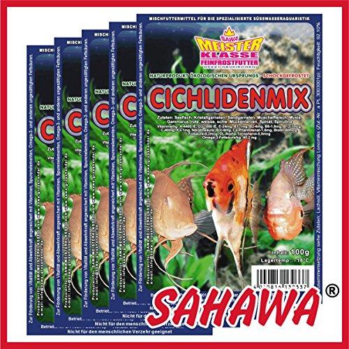 SAHAWA® Frostfutter 10 x 100g Blister + 1 Blister Daphnien gratis, Cichliden-Mix, Barschfutter, verpackt mit Trockeneis -78°C, Aquarium, Aquaristik, Fischfutter, Frostfutter
