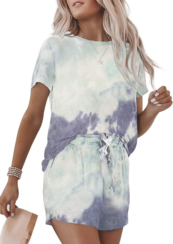 Becaut Women's Tie Dye Casual Outfits Crewneck Short Sleeve 2 Piece Short Set Pajamas Set