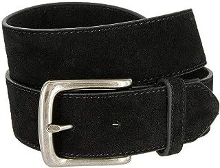"Men's Belt Rounded Edge Heel Bar Buckle Casual Jean Suede Leather Belt 1 1/2"" Wide"