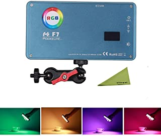 FalconEyes F7 Pocketlite 12W RGB LED Mini Pocket On Camera Light with Honeycomb Grid and Softbox, Special-Effect Scenario Mode, Magnet Adsorbing Funtion, Built in Rechargeable Battery