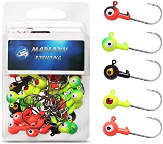 MERLAXY Fishing Lures Jig Heads with Double Eye Ball Head, Sharp Fishing Hooks for Bass..