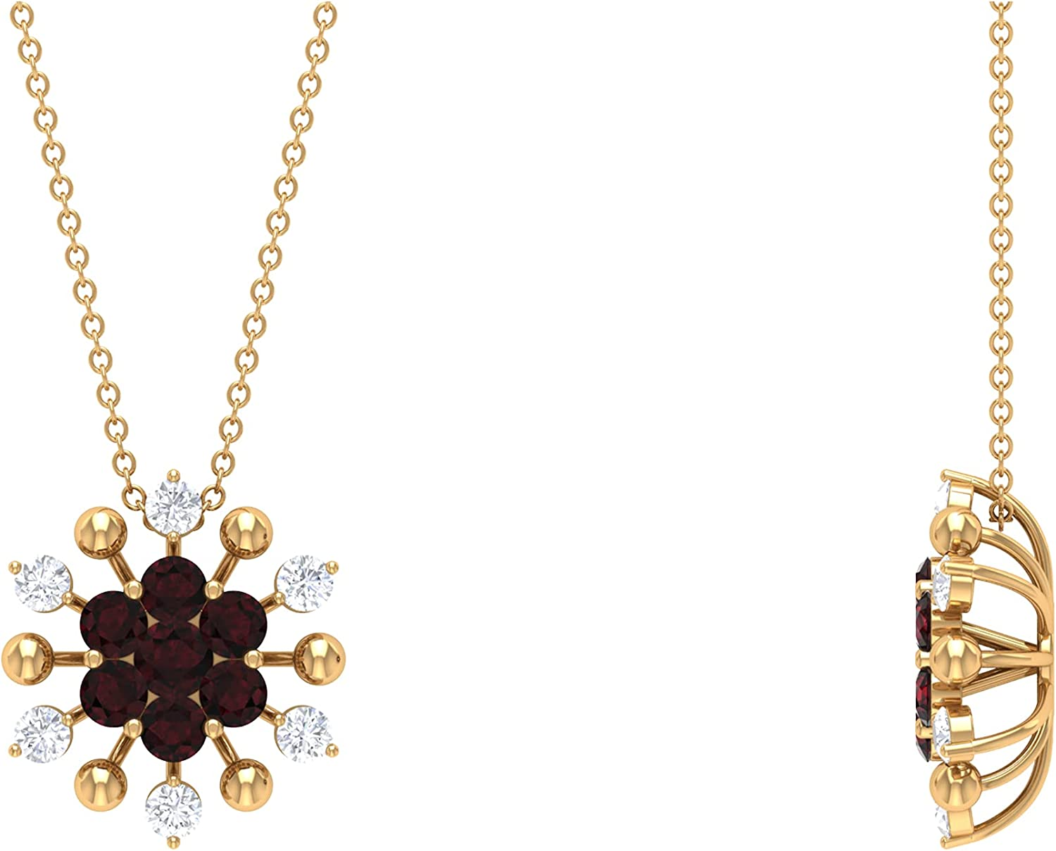 1.25 CT Garnet and Diamond Floral Austin Max 53% OFF Mall Cluster Necklace Y Pendant 14K