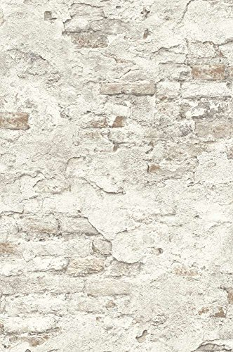 Rasch Tapeten 939316 Vliestapete in Stein-Optik – 10,05m x 53cm (L x B) Vlies Tapete Rasch Kollektion Factory III, Hellgrau, 10,05-0,53
