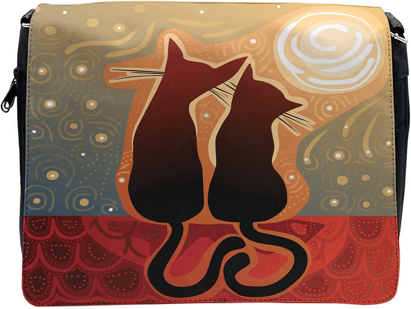 Ambesonne Cat Cross Body Messenger Bag, Moon in a Starry Sky Love, Unisex