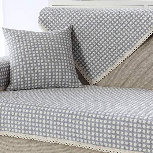 NuAnYI Cojín de sofá de algodón y Lino Antideslizante, Protector de Muebles Funda de sofá para sofás de 1 2 3 4 Cojines, Protector de sofá de Toalla de sofá para Perro-A 70x50cm (28x20inch)