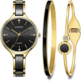 MAMONA Women's Quartz Watch Gift Set Crystal Accented Ceramic and Stainless Steel Black L3877BKGT