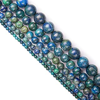 ZRBC Bulk Wholesale Assorted Natural Round Full Strand Healing Gem Semi Precious Stone Beads for DIY Bracelet Necklace Jewelry Making (Color : Chrysocolla Azurite, Size : 4mm)