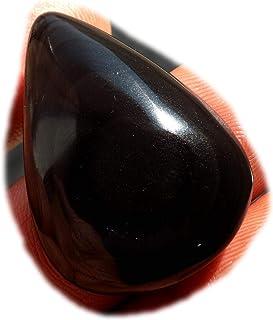 RASIO Cabujón de obsidiana arco iris negro, piedra preciosa semipreciosa natural, forma de pera de 26 quilates 34 x 22 x 5...