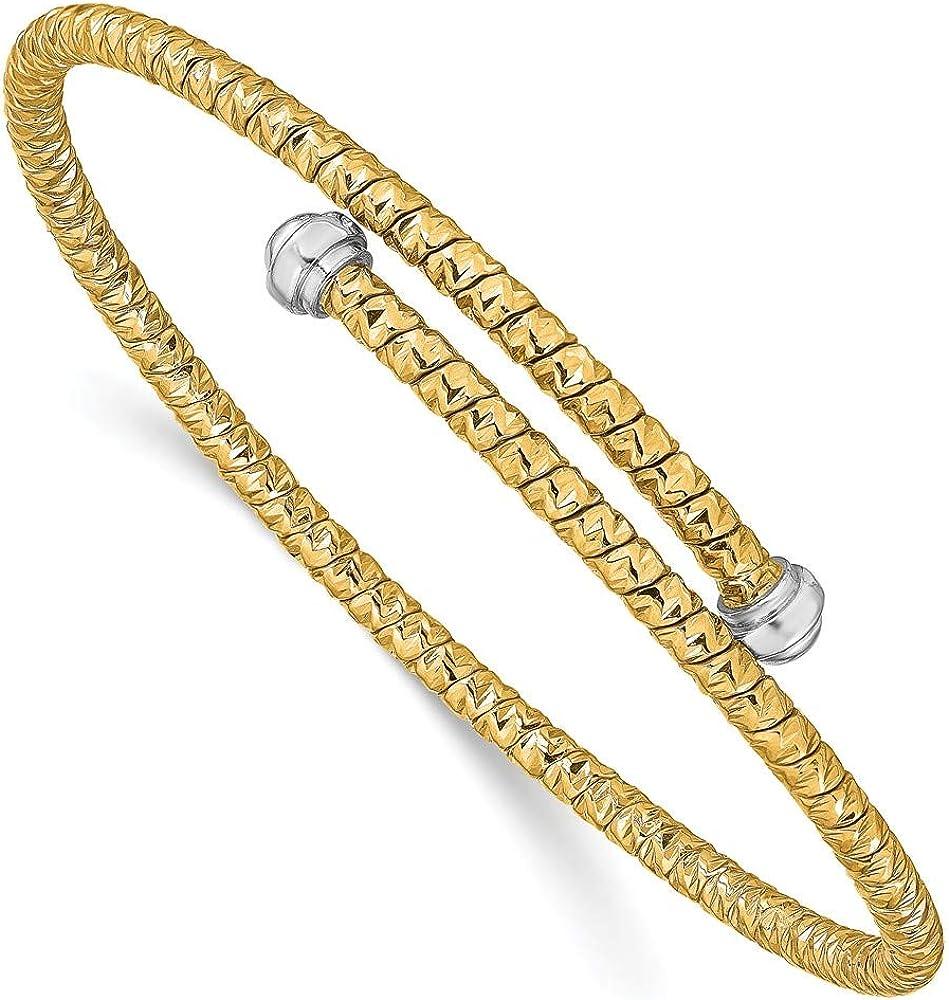 14k Yellow and White Gold Two Tone Diamond-Cut Flexible Bangle Cuff Bracelet (Width = 3mm)
