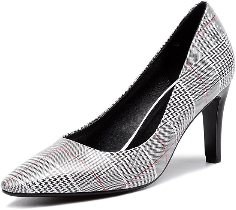 DKFJKI Hochhackige Schuhe Pumps Wildes Temperament Stilettos Plaid-Heels Leder-Damenschuhe