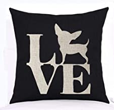 Ashasds Lovely Cute Animal Chihuahua Dog Black and White Flax Throw Pillow Covers for Home Indoor Cushion Standard Size 18x18 in