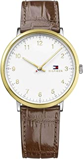 Tommy Hilfiger Men's White Dial Leather Band Watch - 1791340