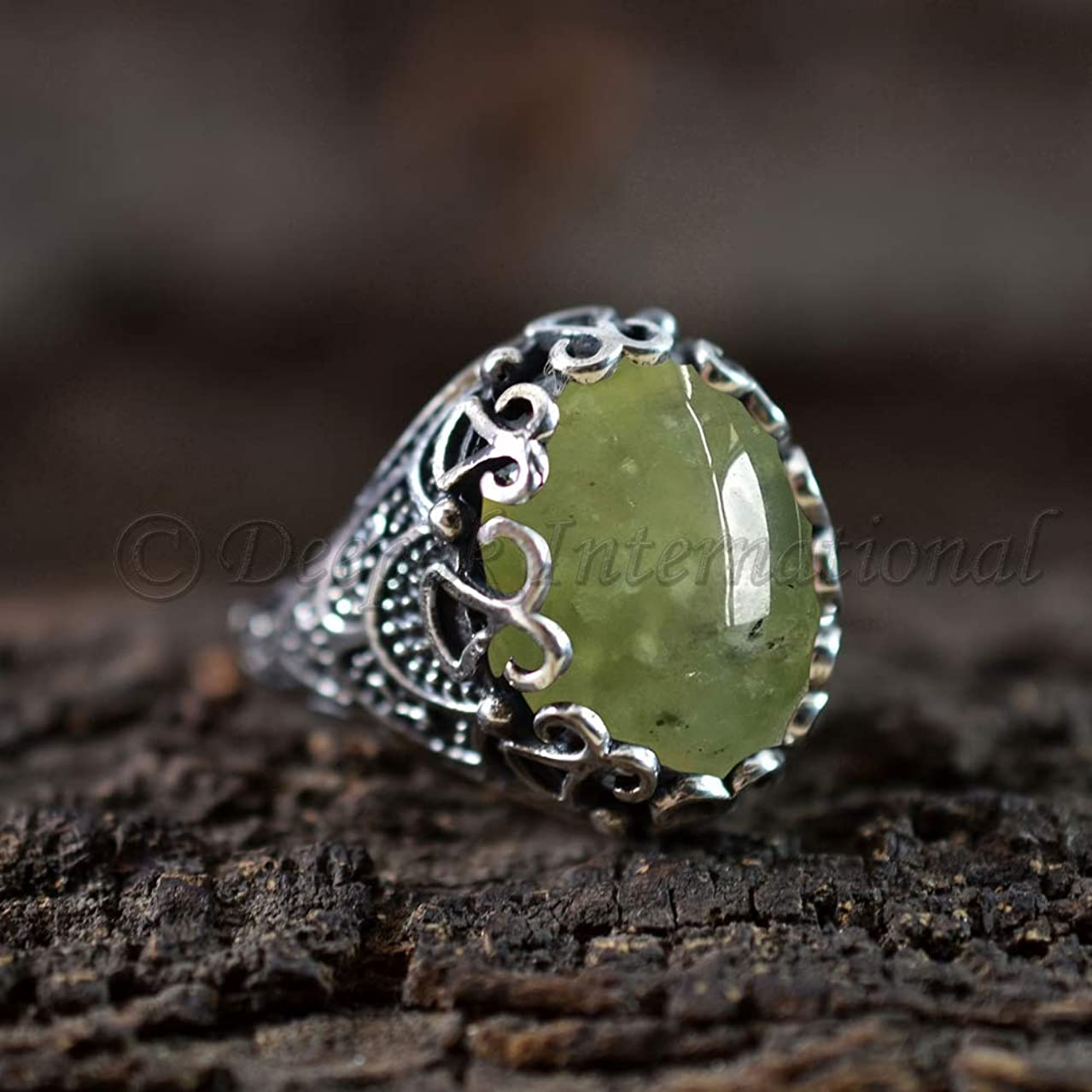 Bohemian Ring Natural Prehnite Gemstone 925 Sterling Silver Jewelry Artisan Made Jewlry Anniversary Gift for Wife Gypsy Tribal Ring for Gift
