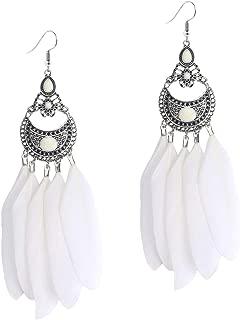 Natural Long Feather Earring Indian Vintage Boho Handmade Dangle Cute Fashion Hook Earrings for Women Girls