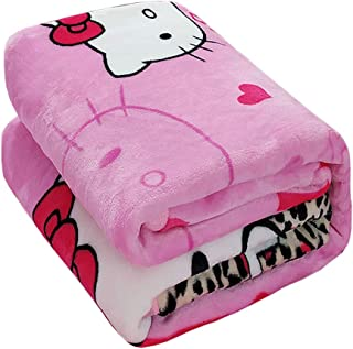 HOLY HOME Kids' Flannel Blanket Throw, Fashionable Leopard Print & Hello Kitty Cat, Flannel Flat Sheet & Sleeping Blanket,60