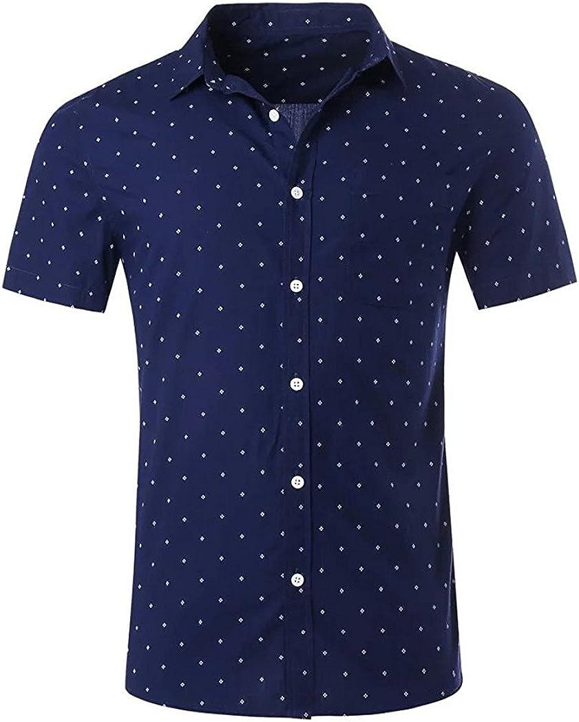 NUTEXROL Mens Print Shirt Casual Regular store Cotton Short Jacksonville Mall Regular-fit Sleeve