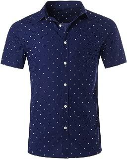 Men's Premium Polka Dot Print Casual Shirt Short Sleeve Cotton Shirts