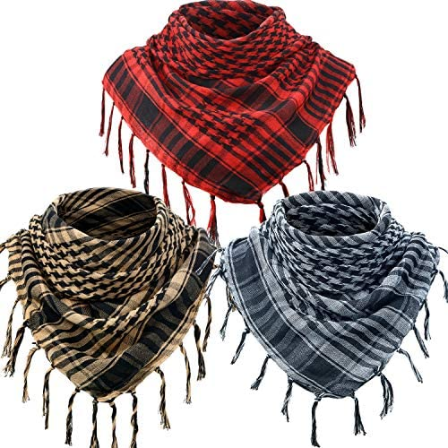3 Arab Plaid Fringe Scarves Cotton Shemagh Keffiyeh Head Neck Scarf with Tassel for Tactical product image