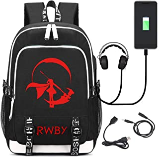 Siawasey Anime RWBY Cosplay Ruby Rose Backpack Daypack Bookbag Laptop School Bag with USB Charging Port