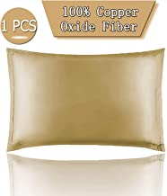 Copper Pillowcase for Fine Lines/Wrinkles Reduction & Hair Smoothing with Anti-Aging Copper Pillow Protector-Silk Like Fabric Pillow Cover (1 PCS 27.5IN 18.8IN)