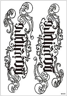 3 stks Waterdichte Bloem Arm Sanskriet Tattoo Sticker Gepersonaliseerde Engels Letters Chinese Karakter Tattoo Wegwerp Tij...
