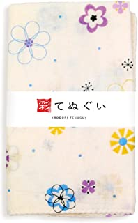 彩(irodori) ガーゼ手ぬぐい 花もよう ピンク 桃 夢染手拭 日本製 てぬぐい 二重袷 二重ガーゼ ほつれ防止加工 約33×88cm