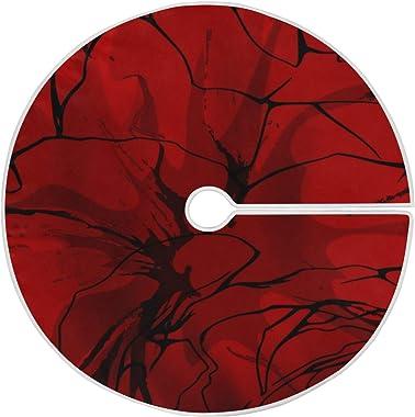 LORONA Tapis de sapin de Noël abstrait Rouge 119,9 cm pour décoration de Noël, intérieur/extérieur, fête, décoration de la ma