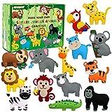 CiyvoLyeen Safari Jungle Animals Sewing Craft Kit DIY Kids Craft and Sew Set for Girls and Boys Educational Beginners Sewing Stuffed Animal Felt Plush Ornaments Set of 14