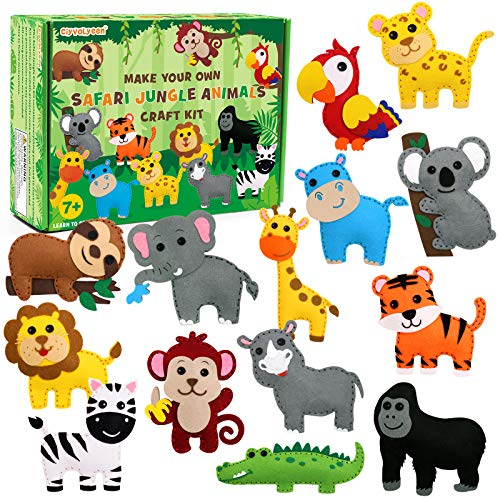 CiyvoLyeen Safari Jungle Animals Sewing Craft Kit DIY Kids Craft and Sew Set for Girls and Boys Educational Beginners Sewing Stuffed Animal Felt Plush Ornaments Set of 14