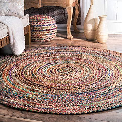 Textiles tressure Tapis de bain indien tressé à la main Bohème réversible en coton coloré Chindi Jute Tapis de bain rond (92 cm)