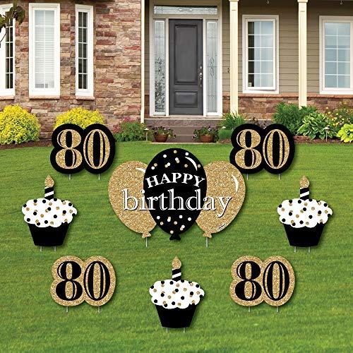 80th Birthday Gold Yard Decorations