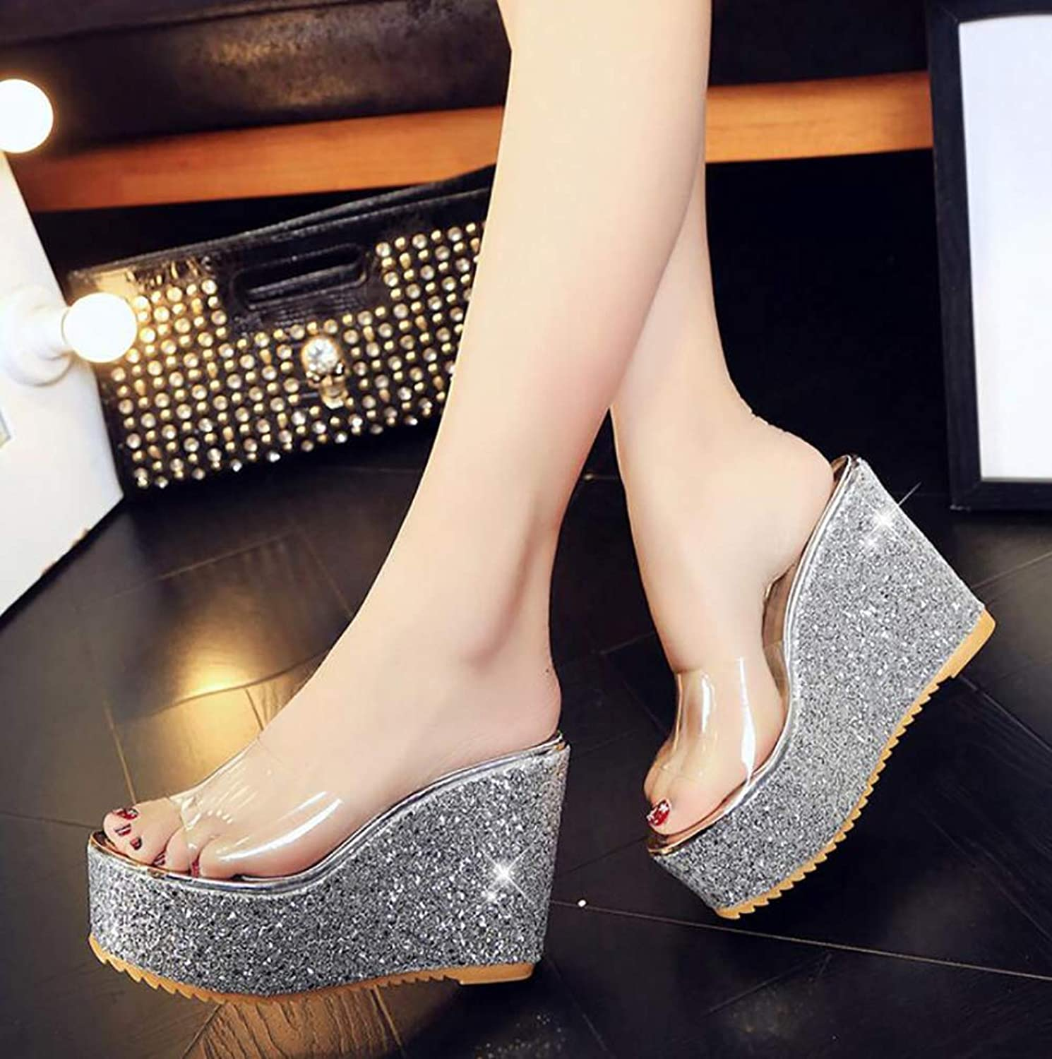Women Platform Wedge Slippers Sandals Summer Beach Wedding Party shoes Fashion Casual Transparent Crystal Flip Flops,Silver,39